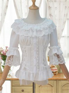 Buy Sweet White Women's Chiffon Blouse Half Flare Sleeve Lolita Blouse with Ruffles at Wish - Shopping Made Fun Style Lolita, Bluse Outfit, Fall Outfits, Fashion Outfits, Mori Girl, Lolita Dress, Lolita Fashion, Shirt Blouses, Blouses 2017