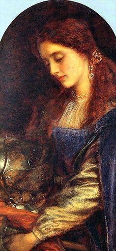 Elaine with the Armour of Lancelot -  Arthur Hughes,  c. 1860's