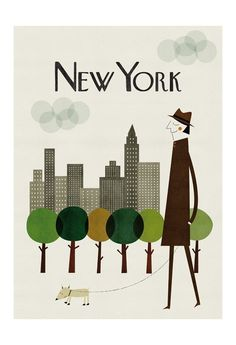 I love NYC, and I love 1950's style cartoons. I can't wait to hang this design from Blanca Gomez on Etsy.