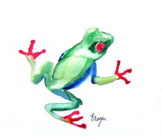 Watercolor Painting - Tree Frog Art Japanese Brush Painting - Art Print
