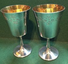 A Lovely Pair of Silver Plated Gilt Lined Goblets - Made In England - tall Antique Silver, Silver Plate, England, Pairs, Antiques, How To Make, Ebay, Antiquities, Antique