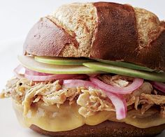 Tangy Pulled Chicken Sandwiches with Pickled Onions, Apple, and Smoked Cheese