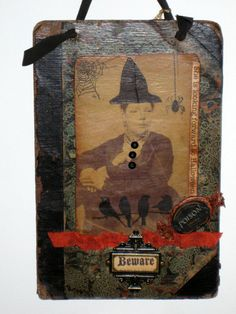 Halloween Collage on Antique Book Cover   Witch by paintedpony99, $30.00