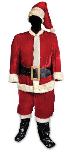Edmund Gwenn red velvet Santa Claus outfit with rabbit-fur trim from Miracle on Patent Leather Boots, Black Leather Belt, Theatre Costumes, Movie Costumes, Western Costumes, The Other Boleyn Girl, Miracle On 34th Street, Hollywood Costume, Santa Suits