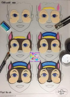 Paw Patrol from Jane Harding Paw Patrol von Jane Harding - Master - Kinder Face Painting Tutorials, Face Painting Designs, Paint Designs, Animal Face Paintings, Animal Faces, Paw Patrol Party, Paw Patrol Birthday, Paw Patrol Costume, Paw Patrol Face Paint