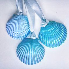 Beach ornaments set of boho hand painted, blue & green or custom color of your choice. Seashell Christmas Ornaments, Coastal Christmas Decor, Seashell Ornaments, Hand Painted Ornaments, Nautical Christmas, Christmas Items, Seashell Painting, Seashell Art, Seashell Crafts