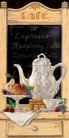 Coffee n' Fruit II, Janet's second smaller oil painting showing an antique detailed coffee pitcher, single cup and saucer on display with fresh fruit. The café drink menu shows in the back ground. Notice all the details of the menu frame and wood table in this , hand signed, original painting.