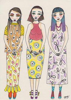 Three Ladies Of The South// Freya Flavell at doodoodloo Graffiti Designs, Picture Design, Princess Zelda, Lady, Creative, Illustration, Anime, Tasmania, Fictional Characters