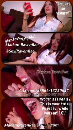"http://goo.gl/EBj5LZ ""out of my nylons into my mouth!"" #giantess @sexiravenrae found a #slave in her nylons #vore"