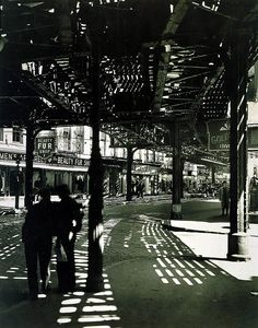 Berenice Abbot, Second and Third Avenue Lines, Bowery and Division Street, Manhattan, from the series Changing New York