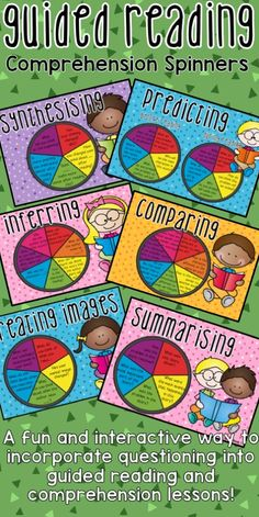 Guided Reading Comprehension Question Spinners. Featuring Predicting, Connecting, Comparing, Inferring, Creating Images, Questioning Summarising and Synthesising!