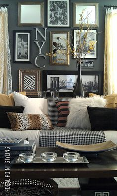 Cluster artwork, pillows, paint color and herringbone throw