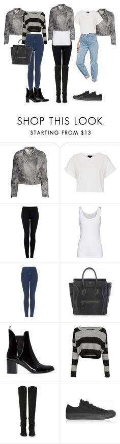 """""""Requested: Kendall Jenner inspired with her exact H&M jacket."""" by thejennerstyleguide ❤ liked on Polyvore featuring H&M, Topshop, Helmut by Helmut Lang, Juvia, CÉLINE, Zara, QED London, Jeffrey Campbell, Converse and kendalljenner"""