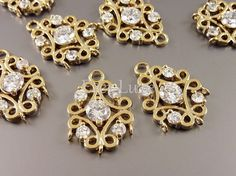 Fancy filigree brass connectors with round faceted cz by EverLuxe, $4.77