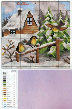 Cross Stitch House, Xmas Cross Stitch, Beaded Cross Stitch, Cross Stitch Alphabet, Cross Stitch Flowers, Cross Stitch Charts, Cross Stitch Designs, Cross Stitching, Cross Stitch Patterns