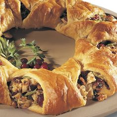 Turkey Cranberry Wreath - The Pampered Chef®. A Tried-and-true family favorite - also great when you substitute chicken for turkey!