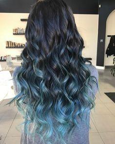 Pastel Blue Balayage Highlights For Black Hair