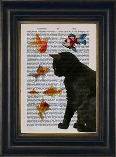 Cat Lover Print  Black Cat with Goldfish Print on repurposed vintage page Book Art Print Mixed Media Christmas Gift