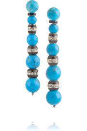 Oscar de la RentaSilver-plated, turquoise, onyx and Swarovski crystal earrings