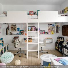 Double loft bed (Cool Designs Boys) - Best Home Decorating Ideas - Easy Interior Design and Decor Tips Bunk Beds With Stairs, Cool Bunk Beds, Kid Beds, Home Bedroom, Girls Bedroom, Double Loft Beds, Kids Room Design, Kid Spaces, Girl Room