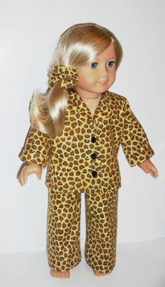 Leopard print pajamas for American Girl dolls