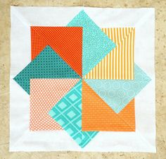 """Fun """"Card Trick"""" Block by Ellie Roberts of Craft Sew Create! (Site links to free PFD pattern.)"""