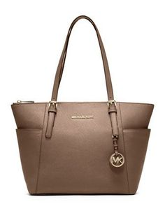 Jet Set Top - Zip Saffiano Tote Bag, Dark Dune by MICHAEL Michael Kors at Neiman Marcus