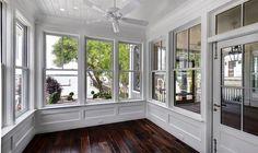 SUNROOM   Robyn Hogan Home Design   Shiplap Ceiling and Walls   Board and Batten Finish   Walnut Plank Floors   Fan