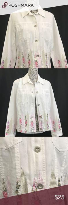 White Jacket with Pink Flora design. Large White Jacket with Pink Flora design. Large Bristol Inc Jackets & Coats Blazers