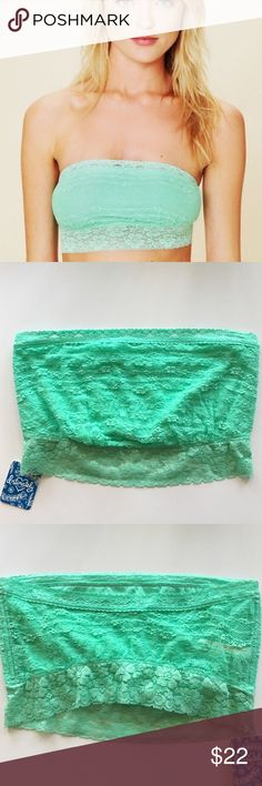 $1 shipping sale! Free People Mint Lace Bandeau NEW from the free people intimately yours collection - the perfect piece for music festivals this summer! Unpadded and so cute peeking out of a tank top, the lace detailing is beautiful. Bundle and save 20%! Free People Intimates & Sleepwear Bandeaus