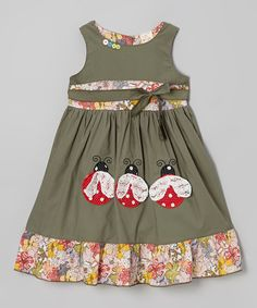 Look what I found on #zulily! Olive Green Ladybug Ruffle Dress - Infant, Toddler & Girls #zulilyfinds