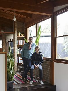 The incredible 1970's Melbourne home of Mark Dundon, proprietor of Seven Seeds, his partner Lisa Sanderson and their son Felix. Dining room featuring rug from Loom Rugs, Kartell dining chairs. Photo – Eve Wilson, production – Lucy Feagins / The Design Files.