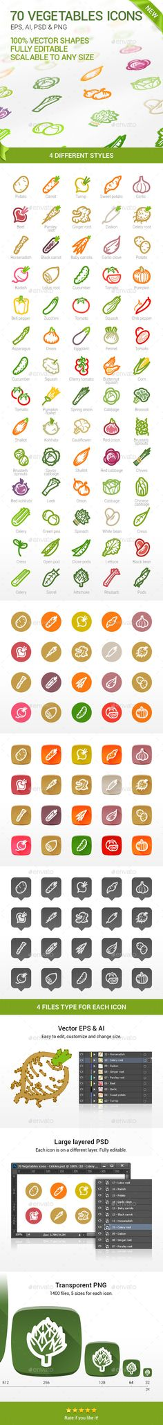 70 Vegetables Icons | Buy and Download: http://graphicriver.net/item/70-vegetables-icons/8995279?WT.ac=category_thumb&WT.z_author=belonogovalexey&ref=ksioks