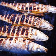 Grilled Sea Bass by Saveur. This recipe for grilled sea bass was given to us by a French oysterman we visited in a small coastal of France. Fish Recipe Low Carb, Breaded Fish Recipe, Blackened Fish Recipe, Man Food, Food 52, Grilled Sea Bass Recipes, Grilled Food, Grilling Recipes, Seafood Recipes