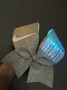JUST DO IT Full Silver Glitter LIGHT UP COLOR CHANGING CHEER BOW