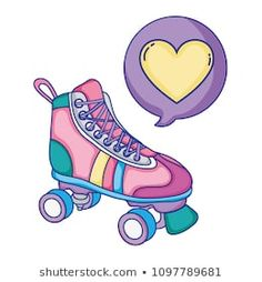 roller skate style with heart inside chat bubble Retro Roller Skates, Roller Derby, Music Drawings, Cute Drawings, Roller Skating Pictures, Wonder Woman Drawing, Doodle, Skater Girl Outfits, Skate Party