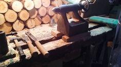 편백나무 안마봉을 깍기위한 목선반셋팅2