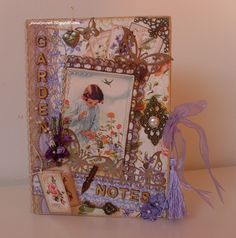 notitieboek 20x15cm met Graphic45 Secret Garden
