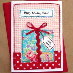 Birthday Greetings For Women Girls Handmade 62 Trendy Ideas Fabric Postcards, Fabric Cards, Paper Cards, Fabric Gifts, Cards Diy, Hand Made Greeting Cards, Making Greeting Cards, Greeting Cards Handmade, Girl Birthday Cards