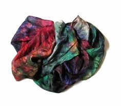 Silk scarf Shibori scarf Hand Dyed Valley of Dreams Violet Red Green Black Winter Scarf Fashion Accessories  Christmas Gift best friend (25.00 USD) by Econicashop