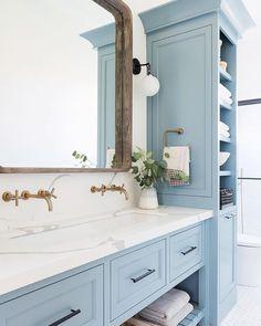 Home Decor Living Room Bathroom Inspiration // Studio McGee.Home Decor Living Room Bathroom Inspiration // Studio McGee Studio Mcgee, Bad Inspiration, Bathroom Inspiration, Bathroom Inspo, Beautiful Bathrooms, Modern Bathroom, Dream Bathrooms, Light Blue Bathrooms, Quirky Bathroom