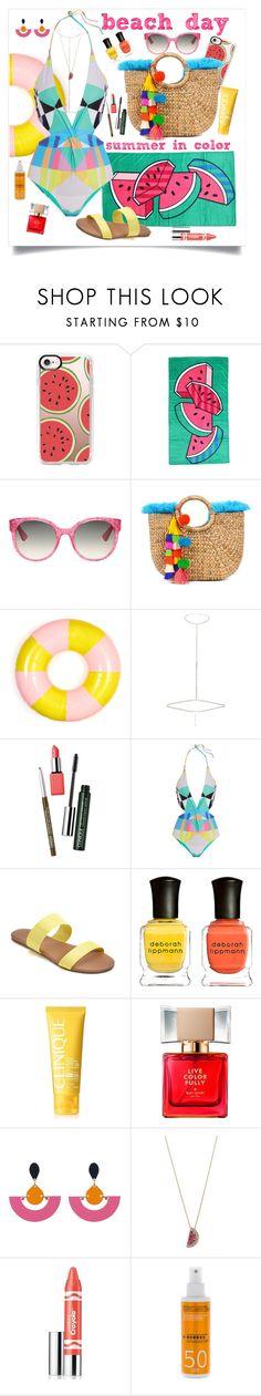 """Beach Day; Summer in Color"" by maggiesinthemoon on Polyvore featuring Casetify, Gucci, ban.do, River Island, Clinique, Mara Hoffman, LC Lauren Conrad, Deborah Lippmann, Kate Spade and John Lewis"