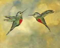 """Hummingbirds Art Print for Couples in Love. Two hummingbirds in flight with a half heart on each coming together ~ unique wedding or anniversary gift idea 8.5"""" x 11"""" - printed image 8 x 10 Professionally printed on premium eco fine art matte paper Print is hand signed on front Your print will arrive packaged in a clear plastic sleeve with stiff cardboard Print comes unframed I ship all prints via USPS priority mail and your our print will arrive safely and quickly. Please note: Computer..."""