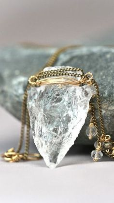 Saggitarius - Clear Crystal Arrow Head Hand Carved Gold Filled Wrapped Long Tribal Necklace