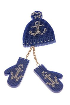 Mittens & Hat Brooch - Blue (sale - Button Up Tatty Devine, Mittens, Archive, Winter Hats, Brooch, Jewellery, Button, Holiday, Blue