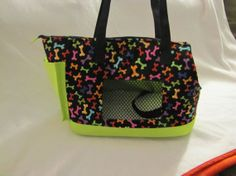 Dog bone and lime green dog carrier by PoochandFelinePalace