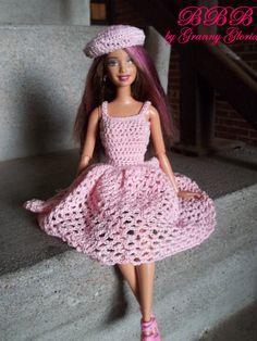 Crochet Barbie Clothes Pink Party Dress by BarbieBoutiqueBasics