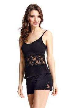Luxusní a sexy dvoudílné dámské pyžamo SOFIA v černé barvě rozproudí atmosféru ložnice každé sebevědomé dámy !