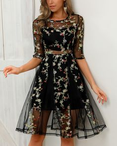 Sheer Mesh Overlay Floral Embroidery Dress fashion fashion fashion fashion fashion fashion - New Site Sheer Overlay Dress, Sheer Dress, Floral Embroidery Dress, Embroidery Fashion, Floral Mesh Dress, Black Women Fashion, Womens Fashion, Fashion Fall, Dress Outfits