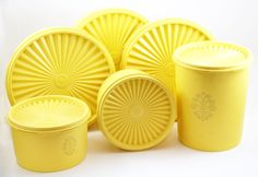 Yellow Tupperware Servalier Container Canister Set by tenpennygray Have most of these... Be awesome to have the whole lot :)